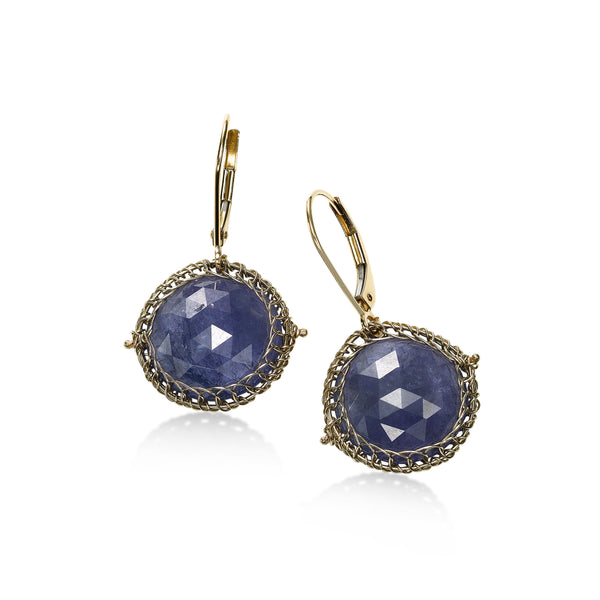 Round Tanzanite Drop Earrings, 14K Yellow Gold
