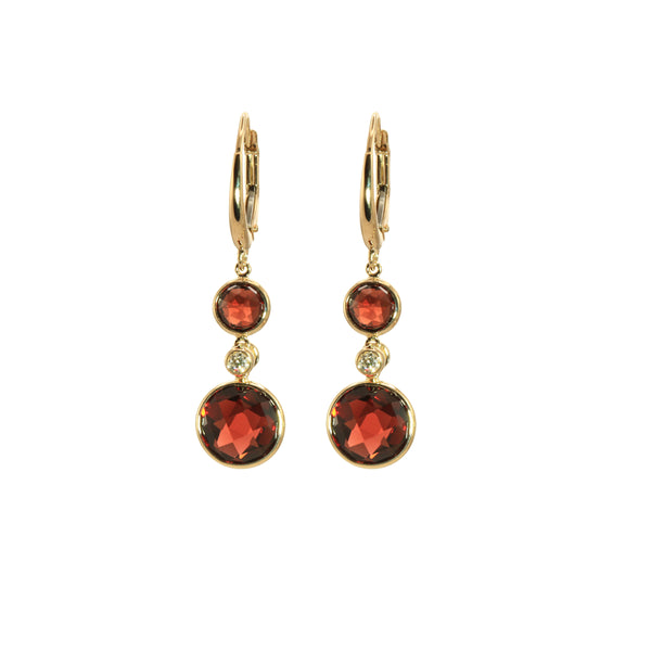Bezel Set Garnet Dangle Earrings, 14K Yellow Gold