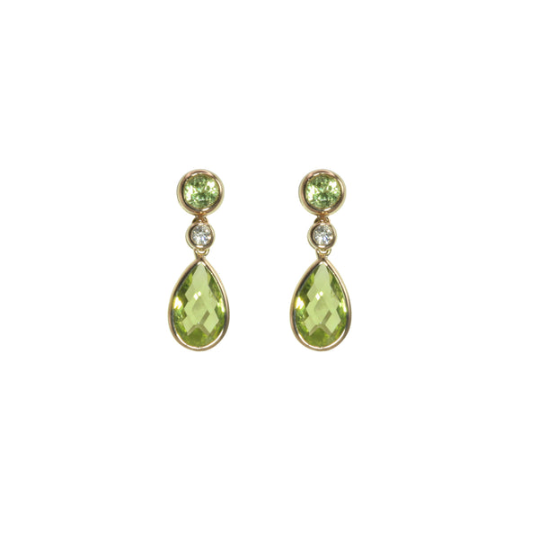Bezel Set Peridot Drop Earrings, 14K Yellow Gold