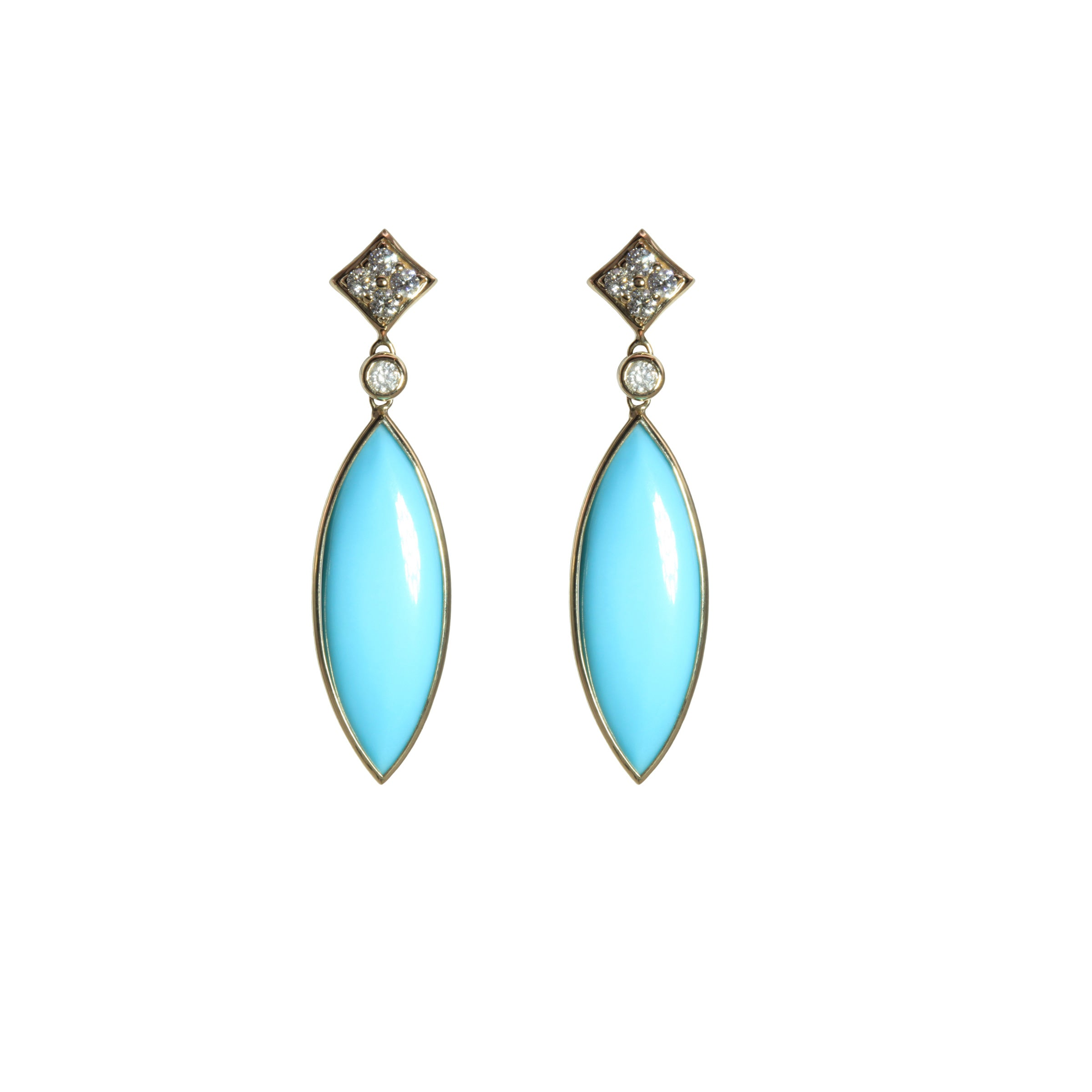 Marquise Shape Turquoise Dangle Earrings, 14K Yellow Gold