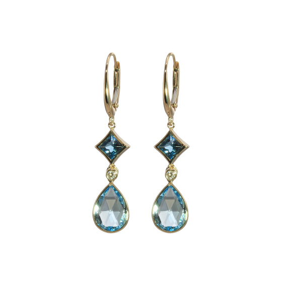 Swiss and London Blue Topaz Dangle Earrings, 14K Yellow Gold