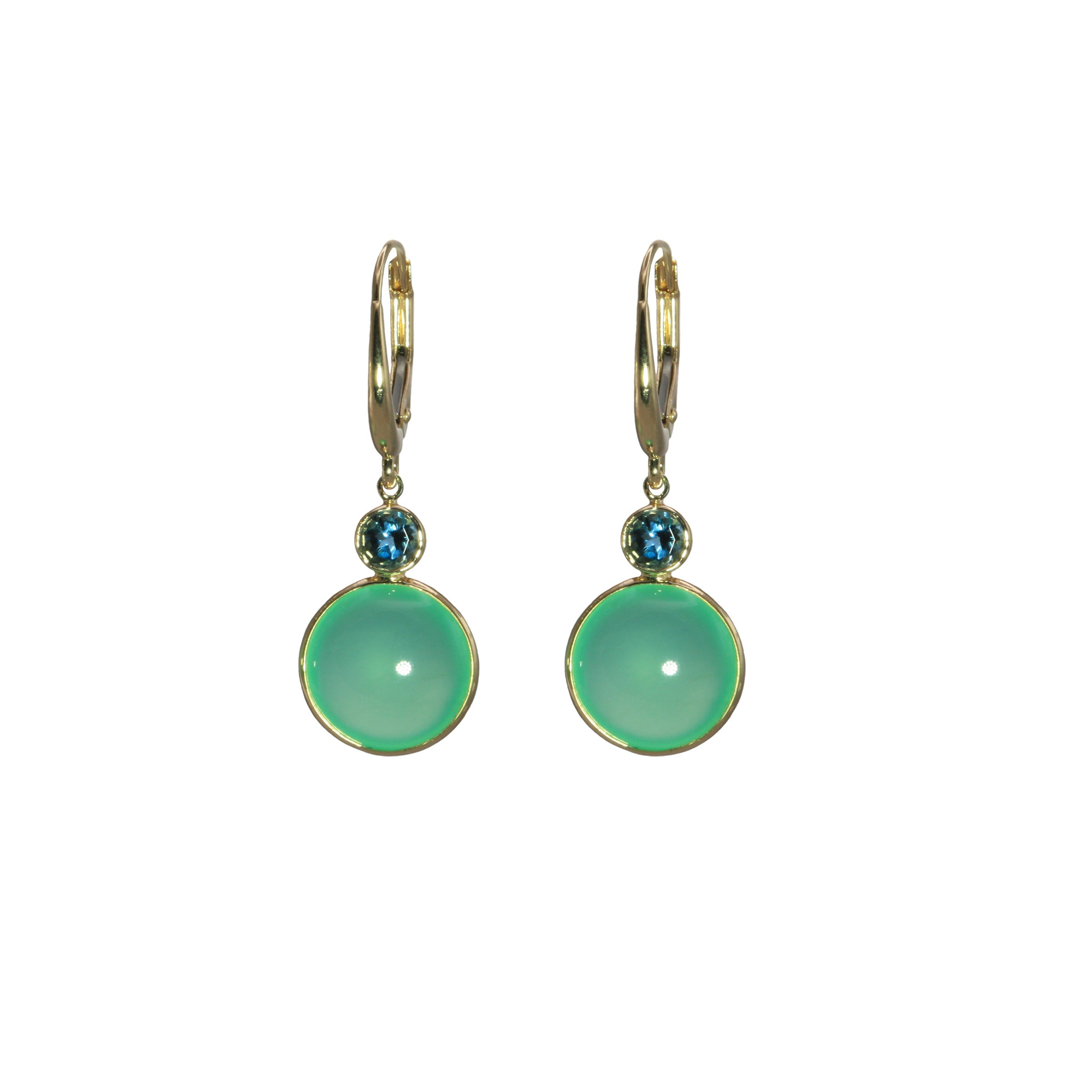 Chrysoprase and London Blue Drop Earrings, 14K Yellow Gold