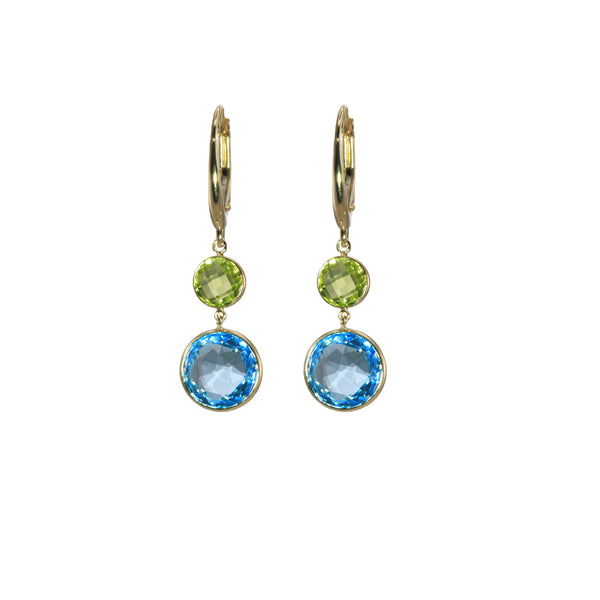 Swiss Blue Topaz and Peridot Dangle Earrings, 14K Yellow Gold