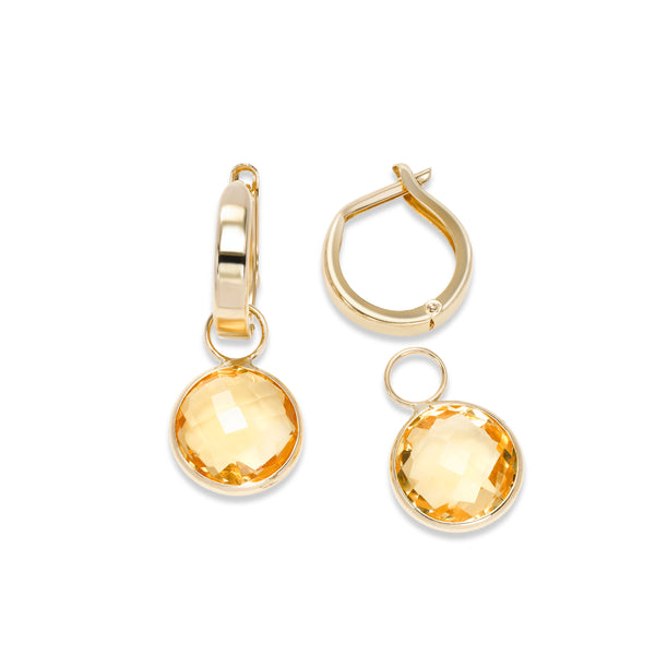 Hoop Earrings with Detachable Citrine Dangles, 14K Yellow Gold