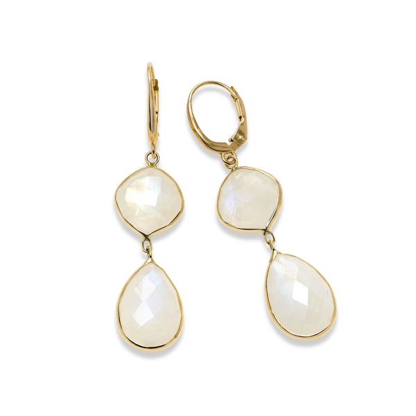 Moonstone Dangle Earrings, 14K Yellow Gold
