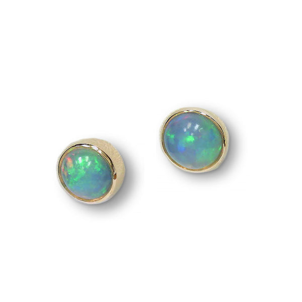 Round Ethiopian Opal Button Earrings, 14K Yellow Gold