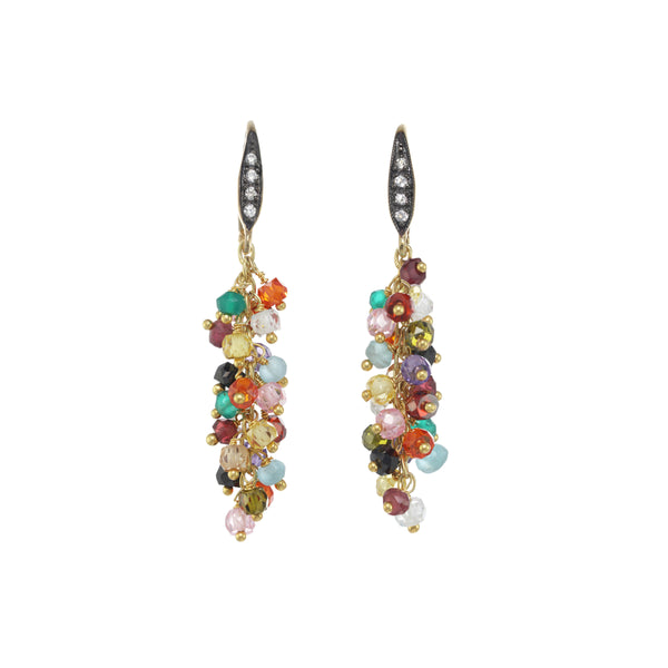Cascading Multi Gemstone Dangle Earrings, Sterling Silver and 18K Gold