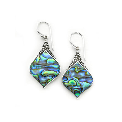 Flared Abalone Dangle Earrings, Sterling Silver