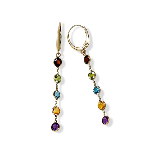 Multicolor Gemstone Dangle Earrings, 14K Yellow Gold