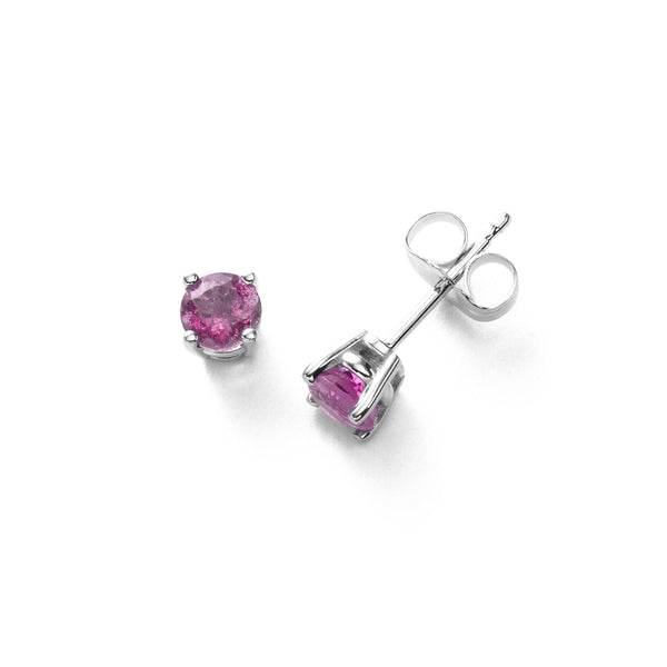 Pink Sapphire Stud Earrings, 5MM, 14K White Gold