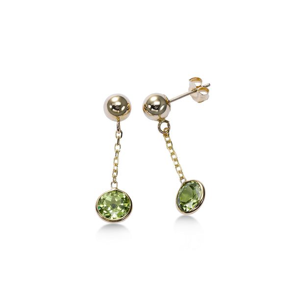 Bezel Set Round Peridot Dangle Earrings, 14K Yellow Gold