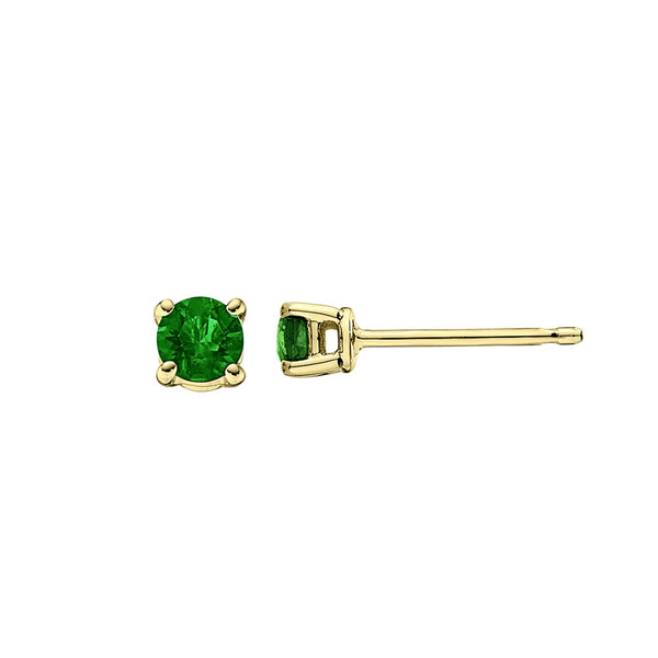 Emerald Stud Earrings, 3MM, 14K Yellow Gold