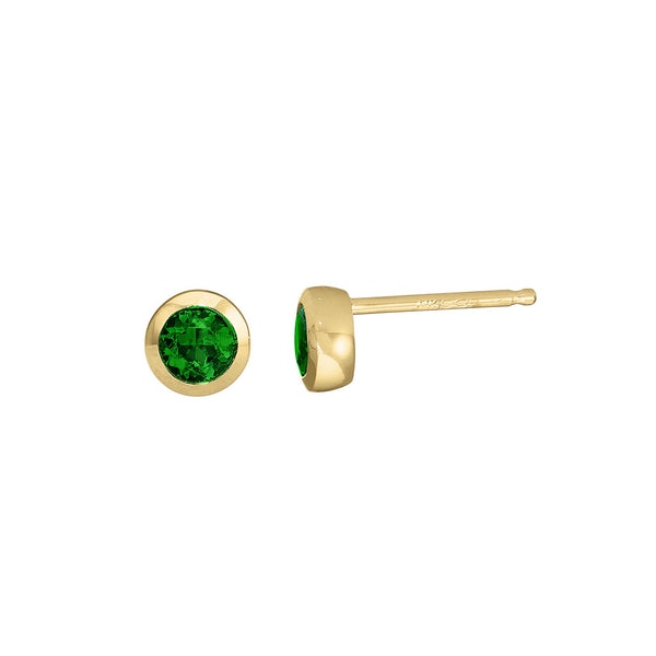 Bezel Emerald Stud Earrings, 3.5MM, 14K Yellow Gold