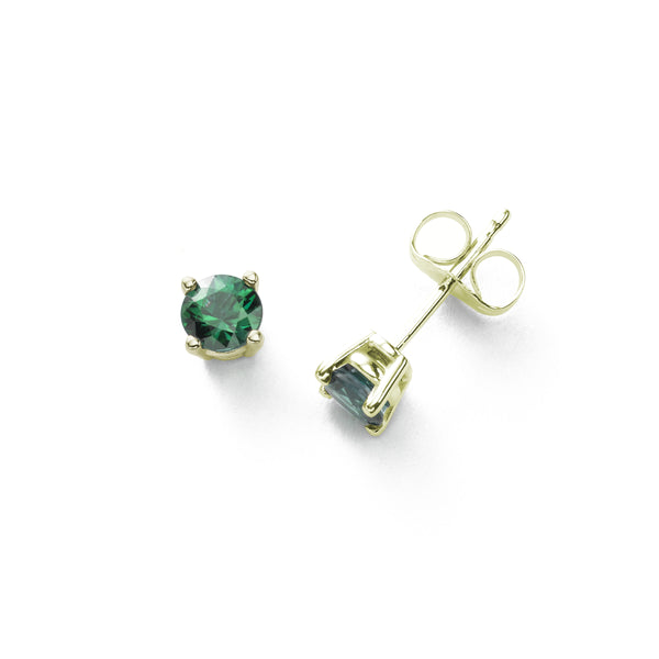 Fine Emerald Stud Earrings, 5MM, 14K Yellow Gold