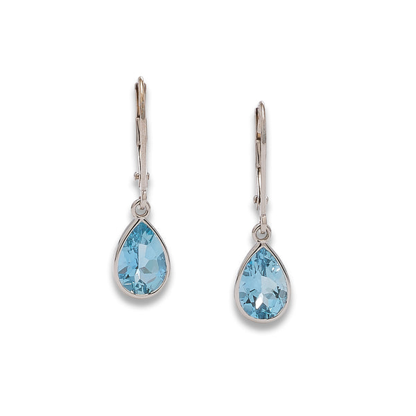 Pear Shape Aquamarine Dangle  Hoops, 14K White Gold