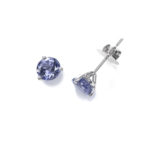 Three Prong Tanzanite Stud Earrings, 5.5 MM, 14K White Gold