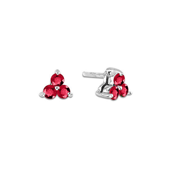 Triple Cluster Ruby Stud Earrings, 14K White Gold