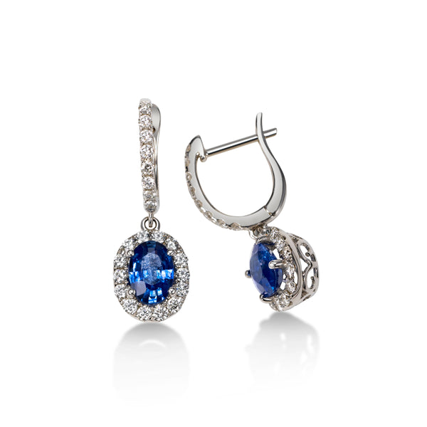 Oval Sapphire and Diamond Drop Earrings, 14K White Gold
