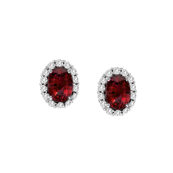 Oval Ruby and Diamond Earrings, 18K White Gold