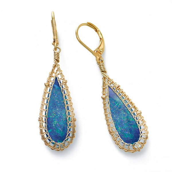 Elongated Opal Dangle Earrings, 14K Gold Filled