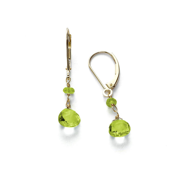 Peridot Dangle Earrings, 14K Yellow Gold