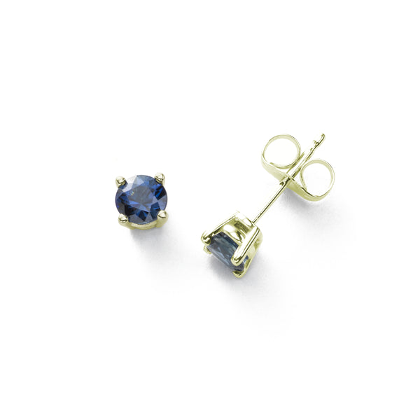 Fine Blue Sapphire Stud Earrings, 5MM, 14K Yellow Gold