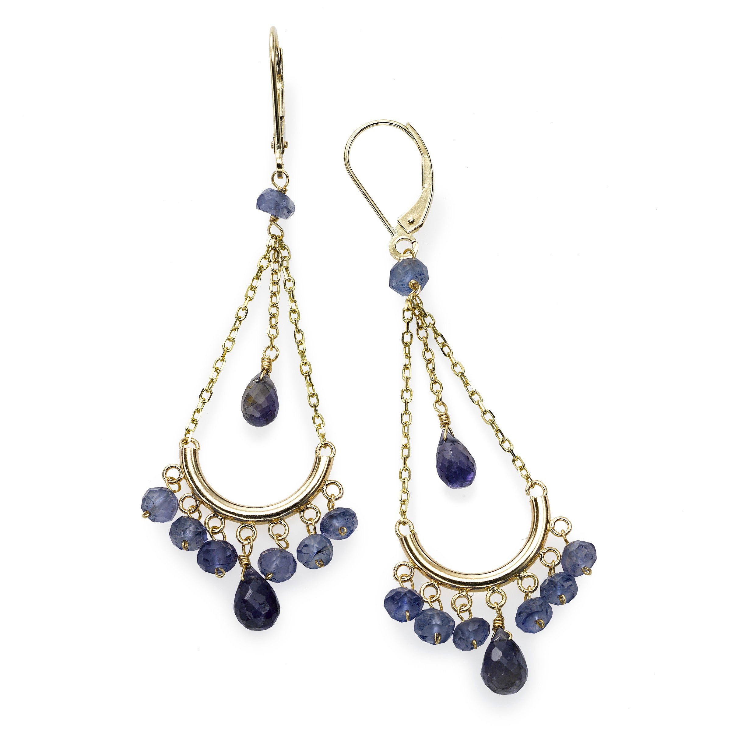 Blue Iolite Chandelier Earrings, 14K Yellow Gold