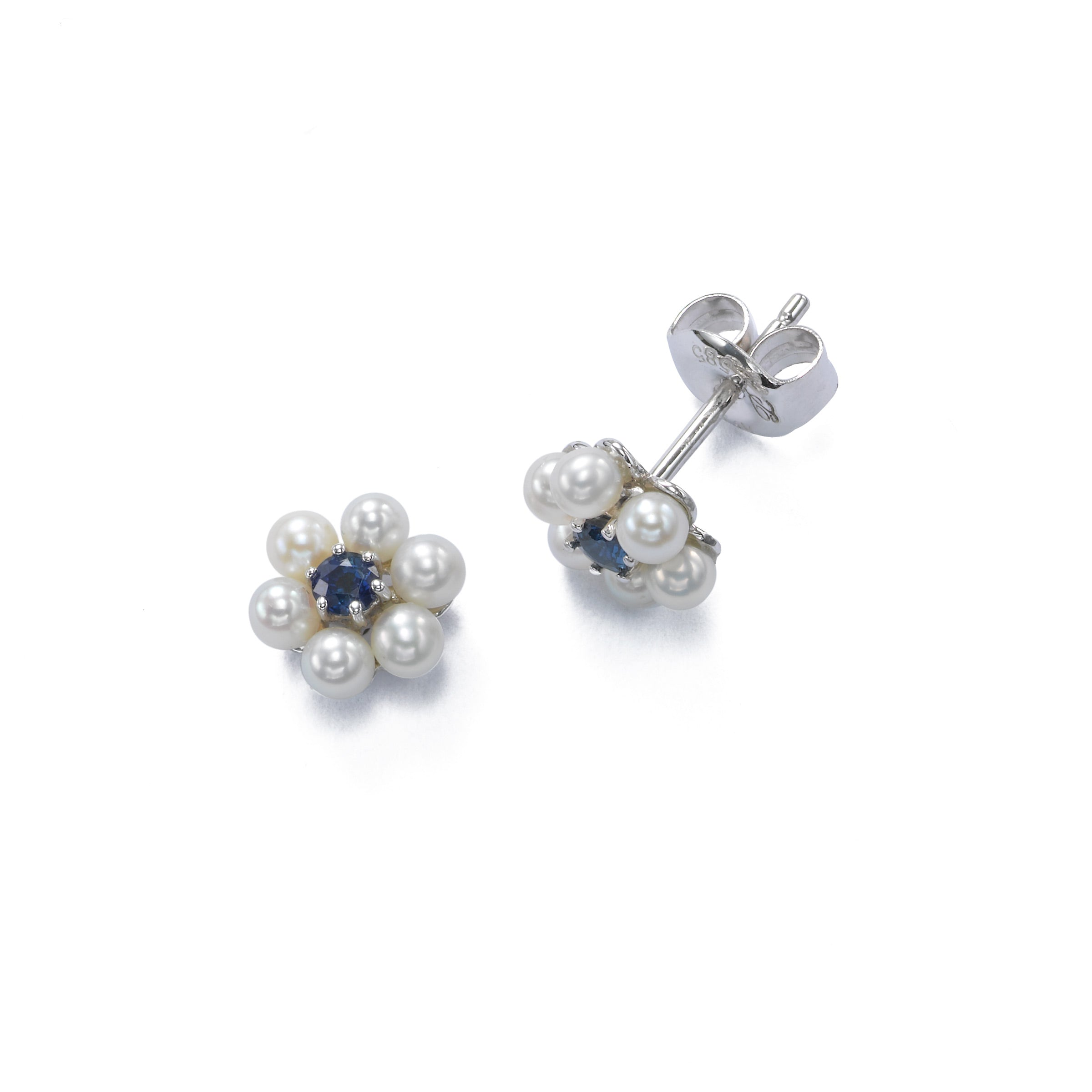 Petite Pearl With Sapphire Flower Earrings, 14K White Gold