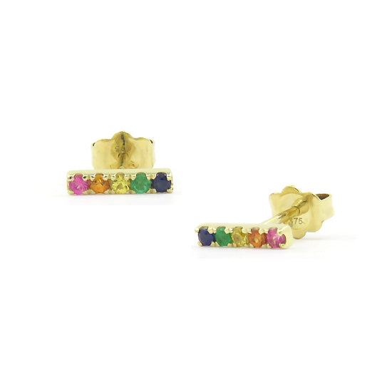 Multi Color Gemstone Rainbow Bar Earrings, 14K Yellow Gold