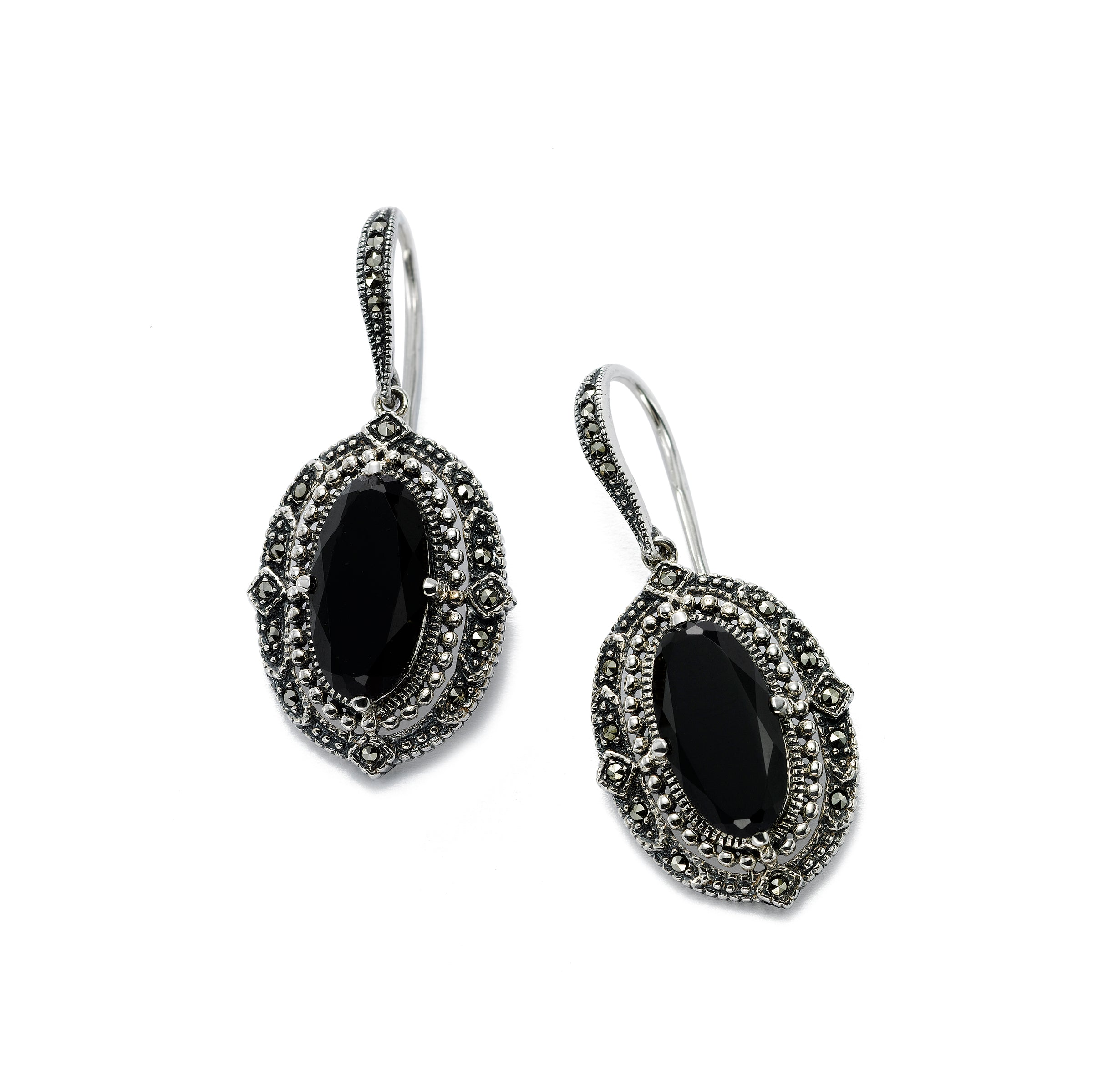 Swarovski Marcasite Earrings with Black Onyx, Sterling Silver