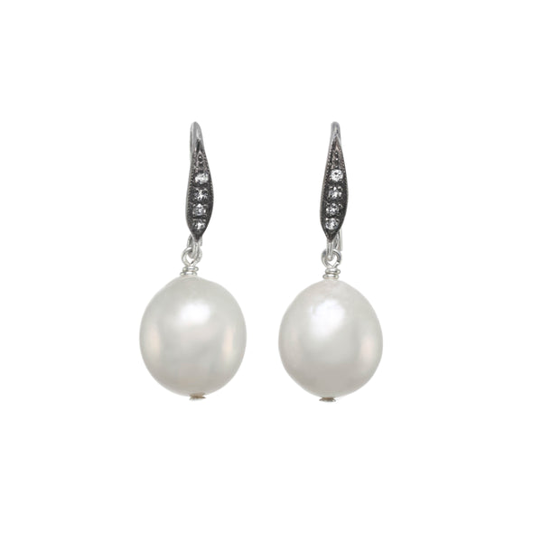 White Baroque Freshwater Cultured Pearl Drop Earrings, Sterling Silver