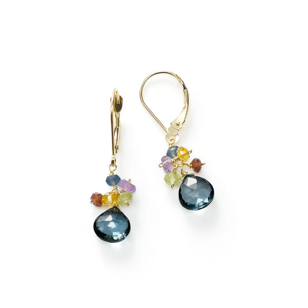 London Blue Topaz and Multi Gemstone Dangle Earrings, 14K Yellow Gold