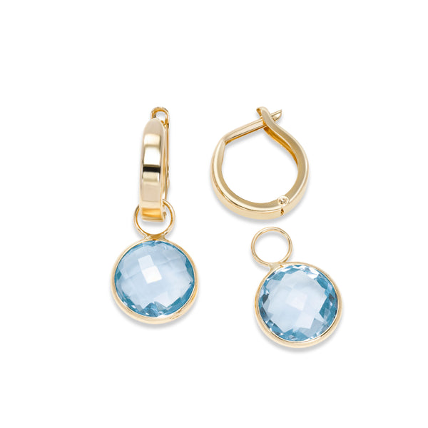 Hoop Earrings with Detachable Blue Topaz Dangles, 14K Yellow Gold