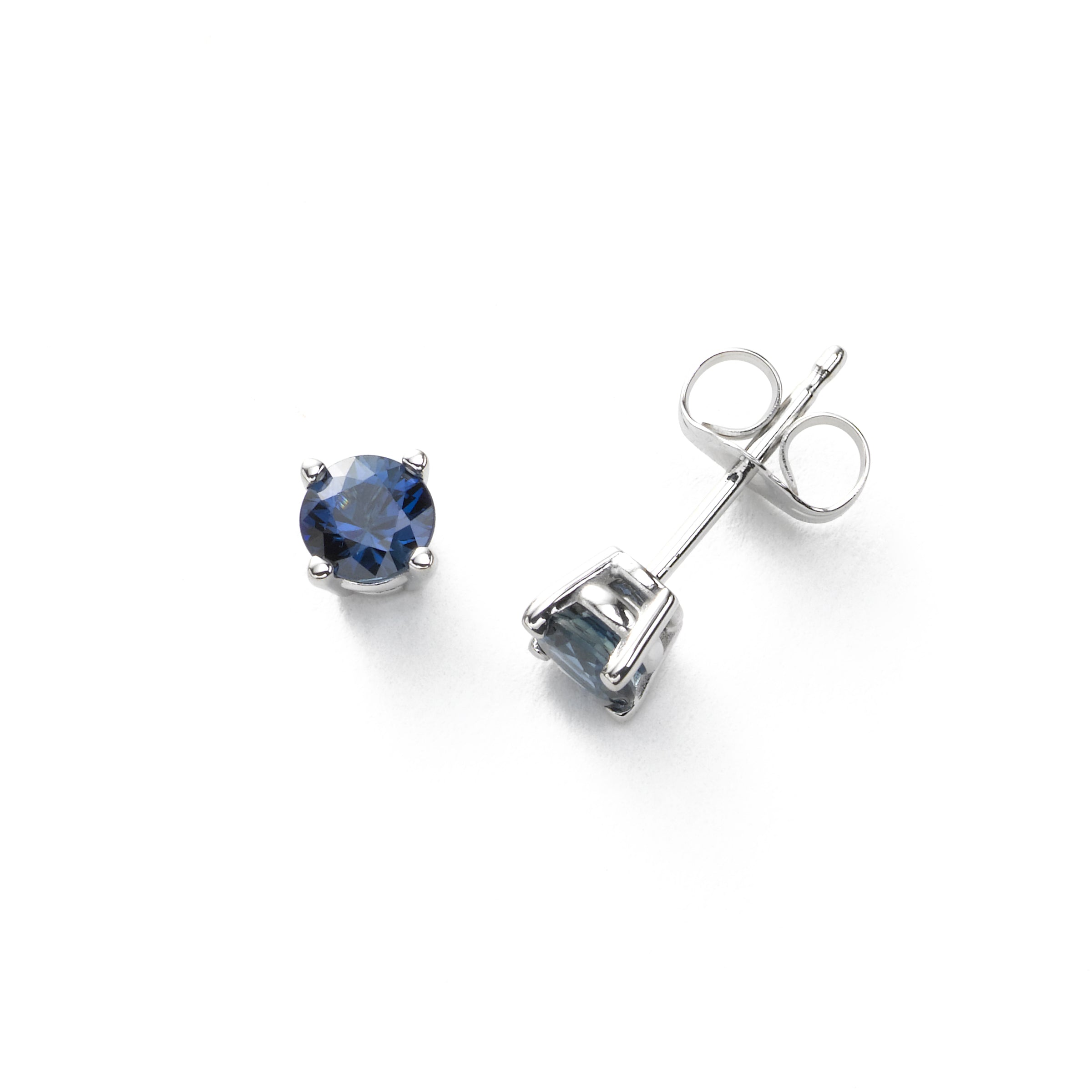 Fine Blue Sapphire Stud Earrings, 4.5 MM, 14K White Gold