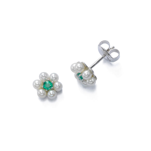 Petite Pearl With Emerald Flower Earrings, 14K White Gold