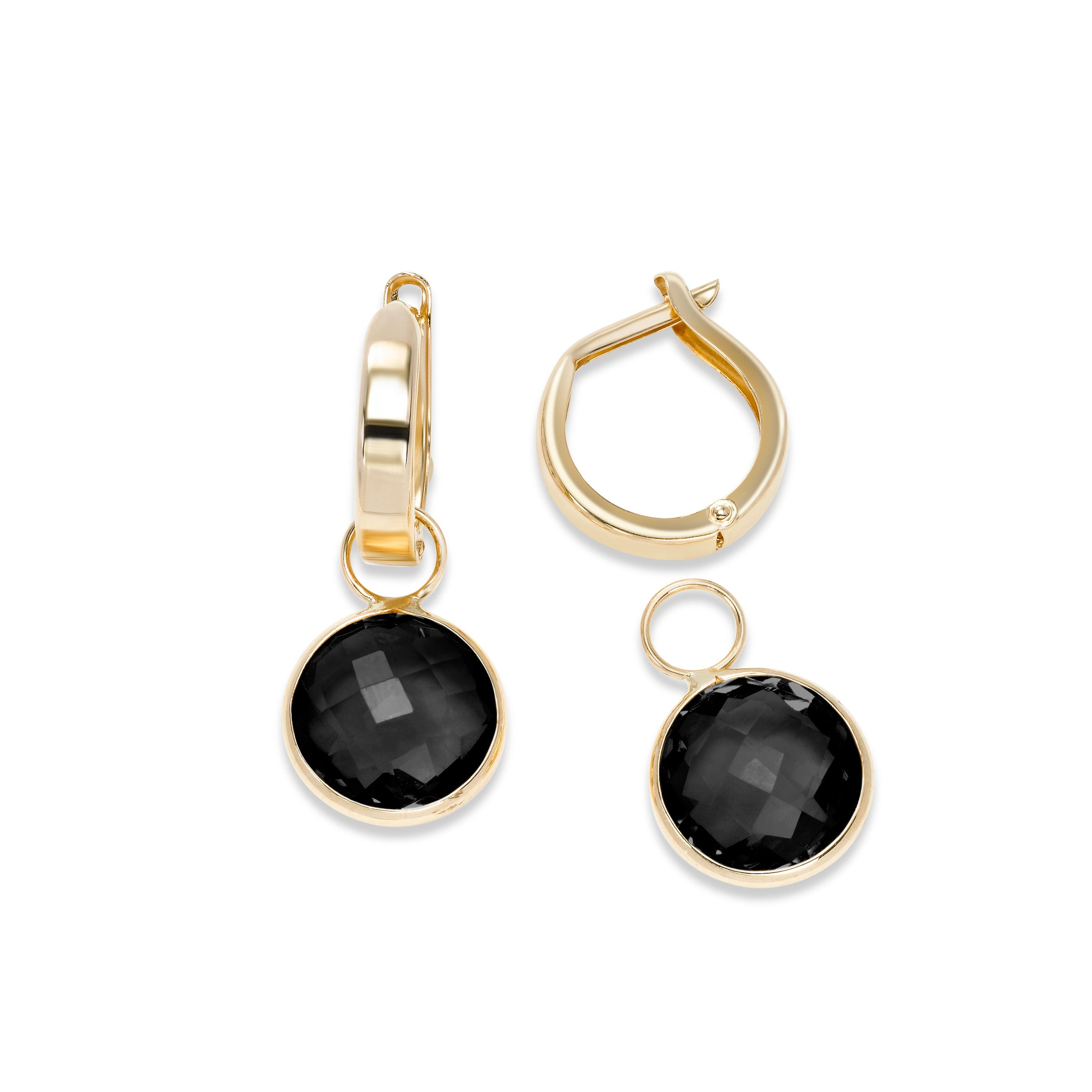 Hoop Earrings with Detachable Black Onyx Dangles, 14K Yellow Gold