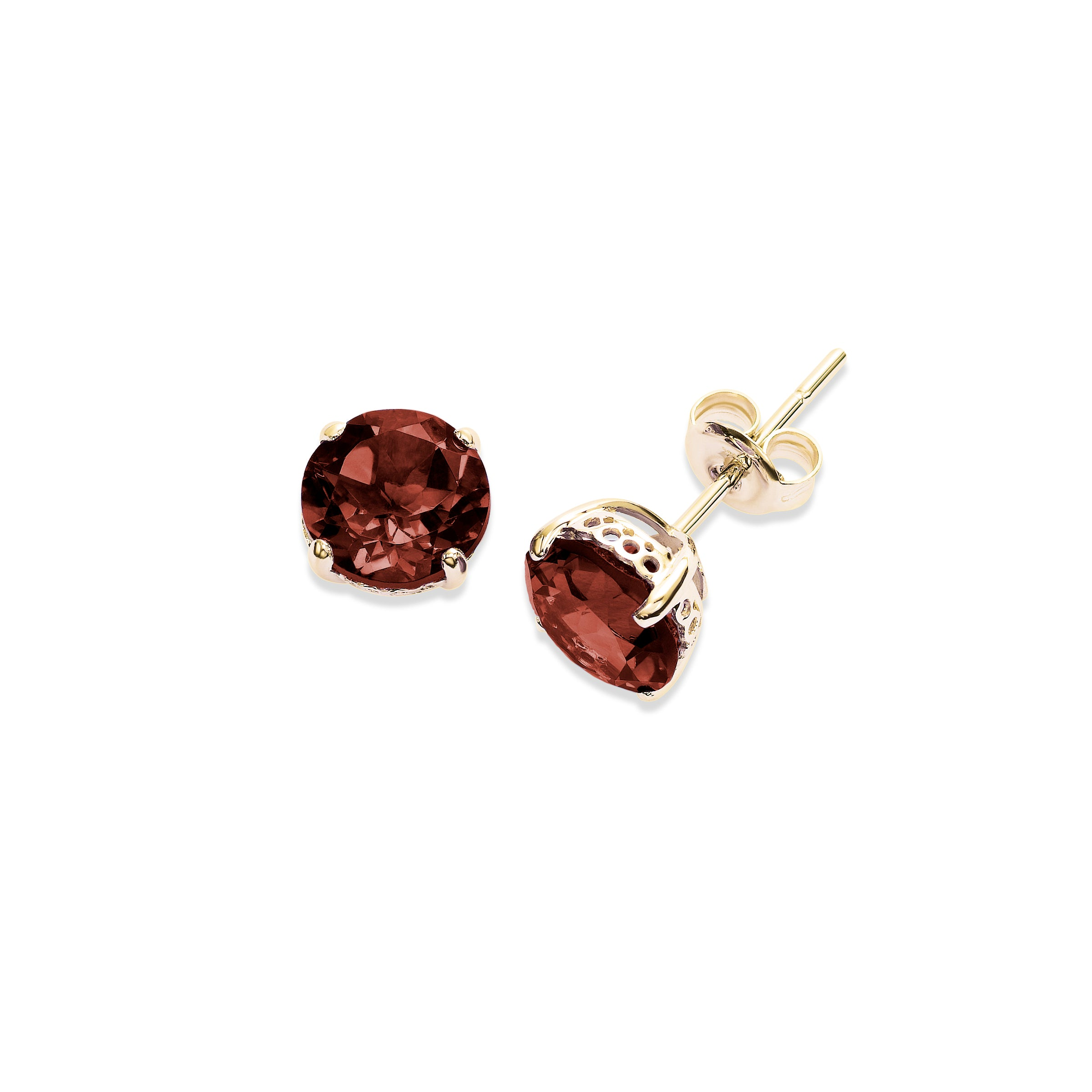 Round Garnet 8MM Stud Earrings, 14K Yellow Gold