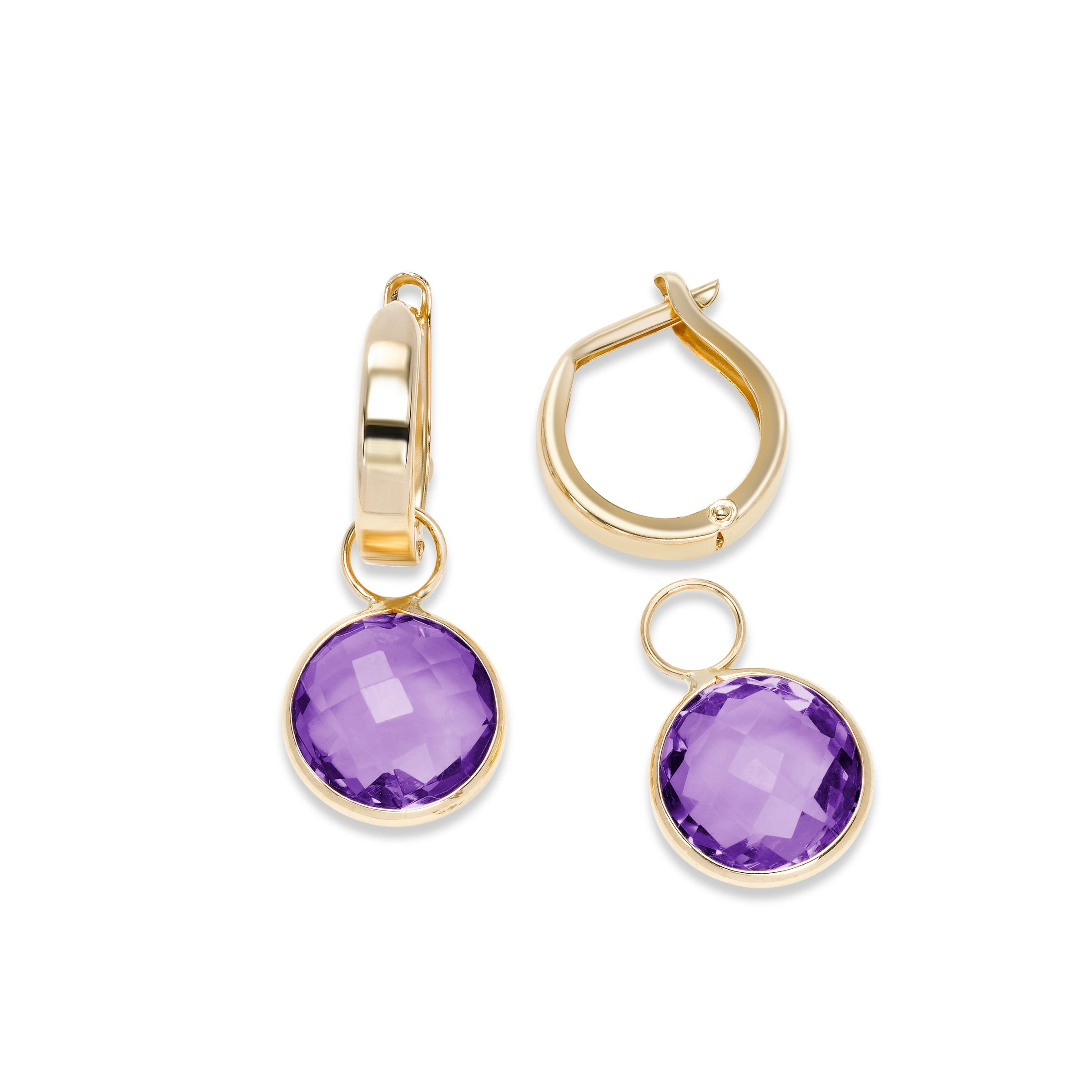 Hoop Earrings with Detachable Amethyst Dangles, 14K Yellow Gold