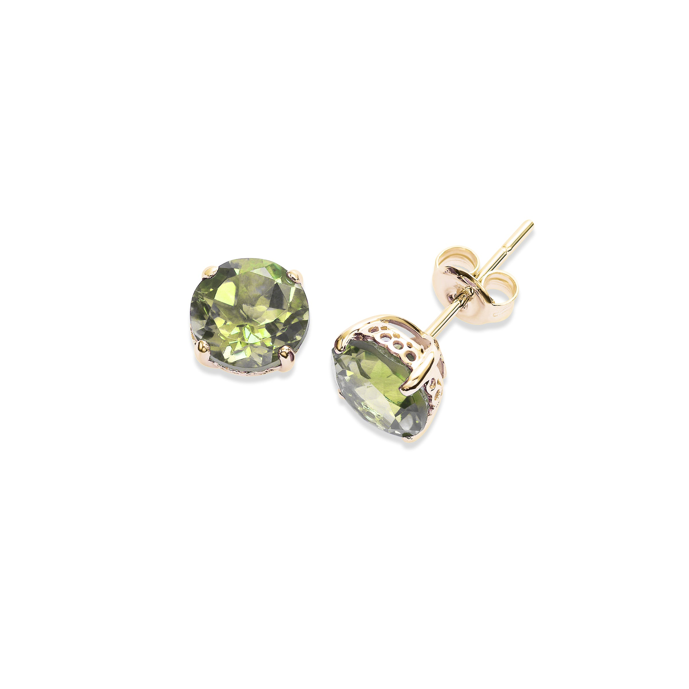 Round Peridot 8MM Stud Earrings, 14K Yellow Gold