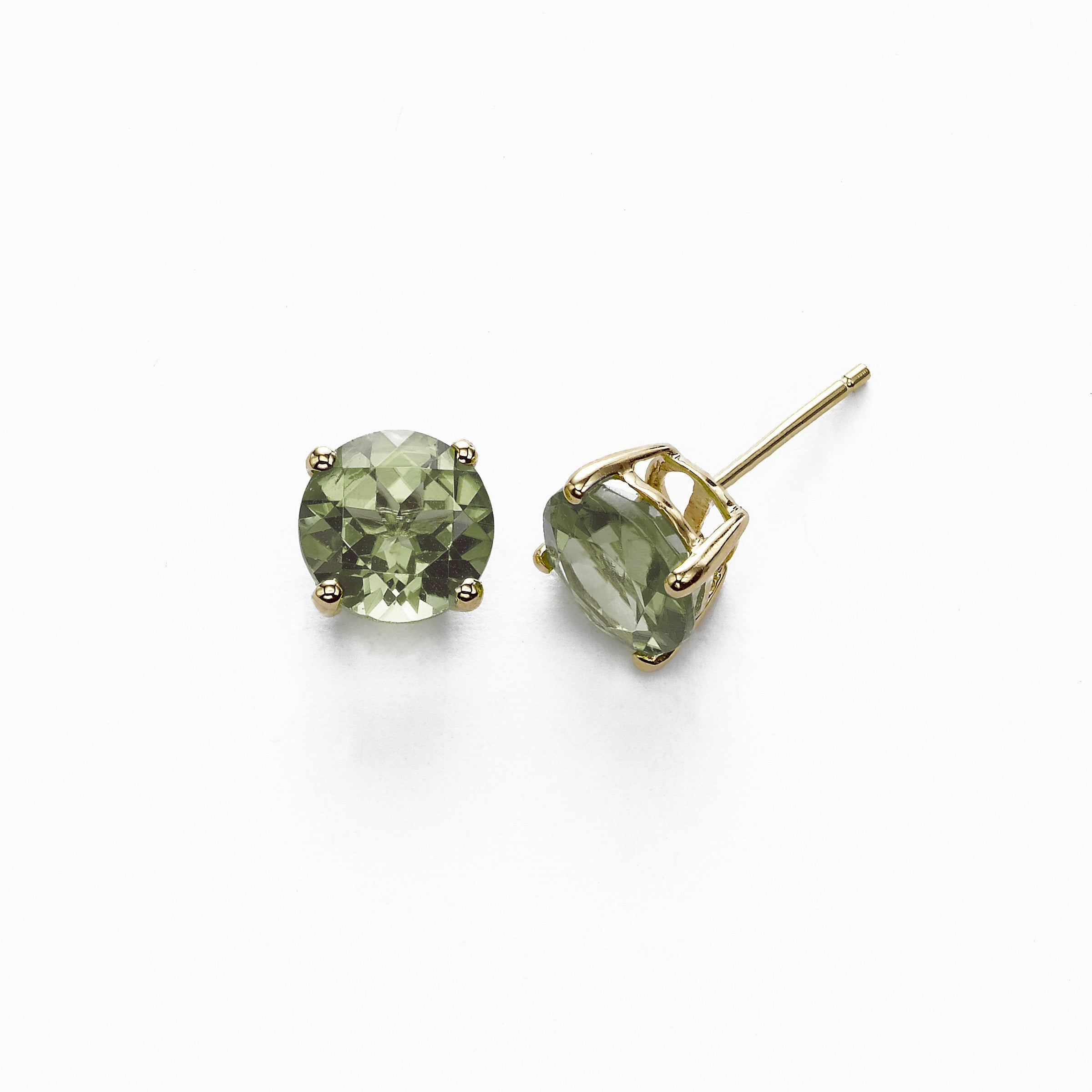 Round Prasiolite Stud Earrings, 8 MM, 14K Yellow Gold