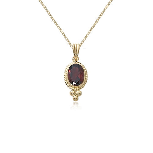 Framed Oval Garnet Pendant, 14K Yellow Gold