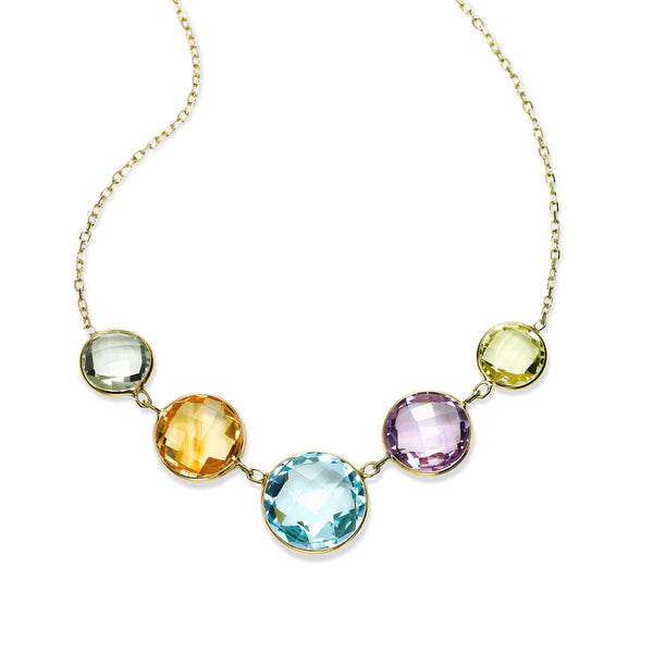 Bezel Set Graduated Multi Stone Necklace, 14K Yellow Gold