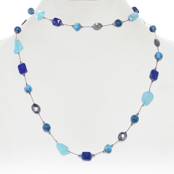 Peru Opal, Lapis, Pyrite and Apatite Gemstone Necklace, 35 Inches