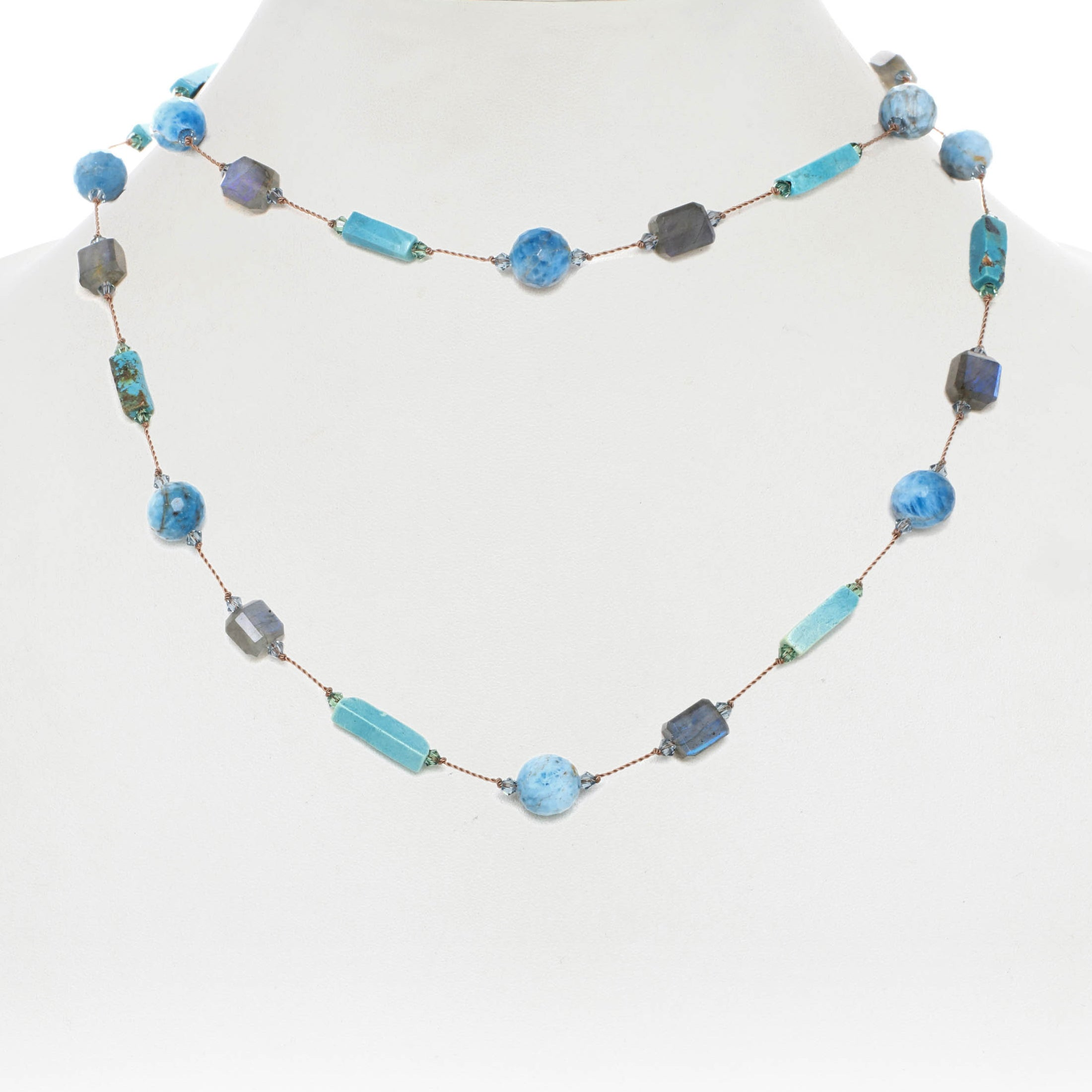 Labradorite, Apatite and Turquoise Gemstone Necklace, 35 Inches