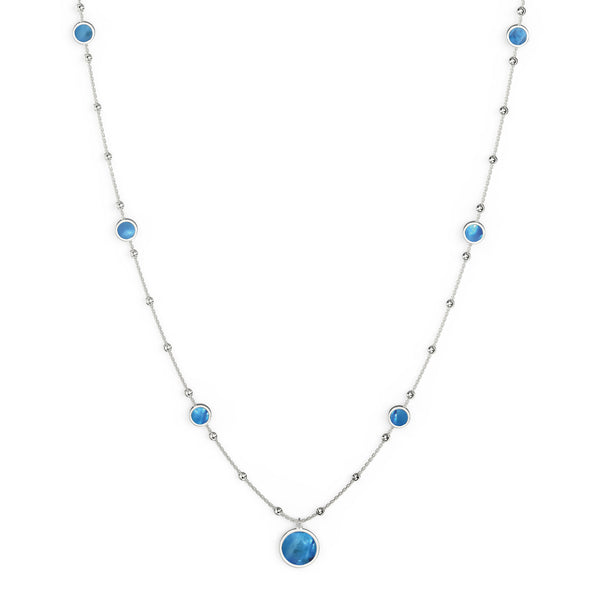 Blue Mother Of Pearl Station Necklace, 34 Inches, Sterling Silver