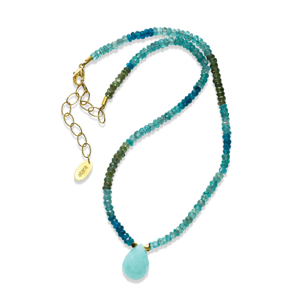 Chalcedony Drop on Apatite Necklace, 24K Yellow Gold Vermeil