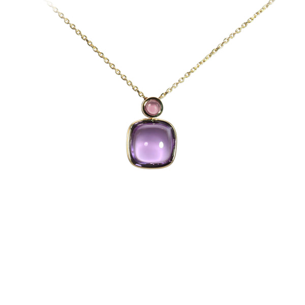 Cushion Shape Amethyst Necklace with Tourmaline Accent, 14K Yellow Gold
