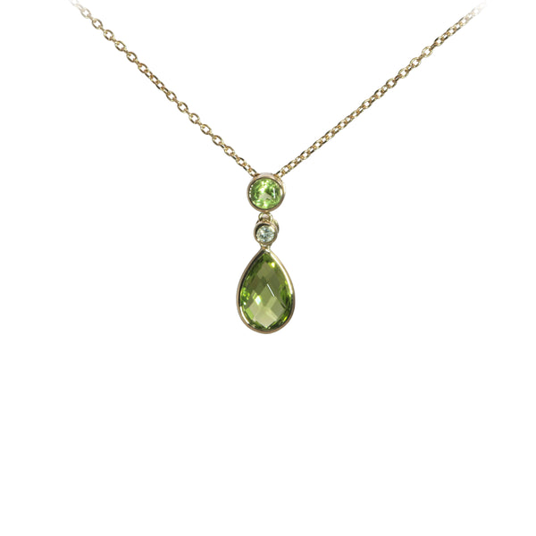 Peridot Drop Necklace with Diamodn Accent, 14K Yellow Gold