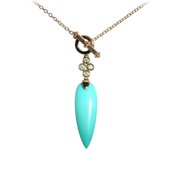 Marquise Shape Turquoise Drop Necklace, 14K Yellow Gold
