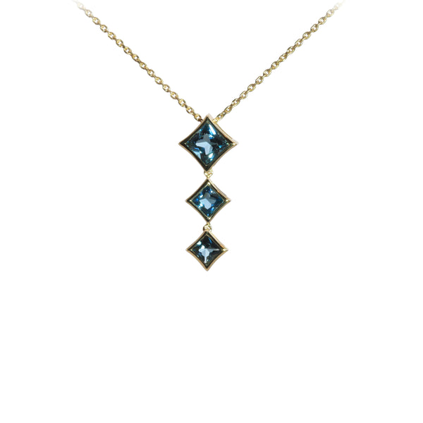 Princess Cut London Blue Topaz Drop Necklace, 14K Yellow Gold